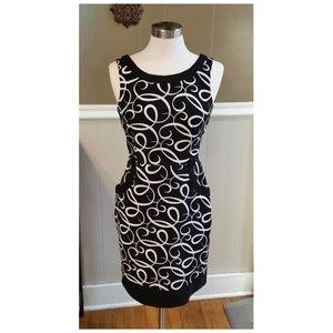 LONDON TIMES Black/Wht Modernist Swish Dress 8P